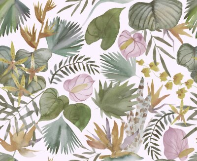 Fototapeta Tropical seamless pattern with tropical flowers, banana leaves.  Round palm leaves, watercolor painted