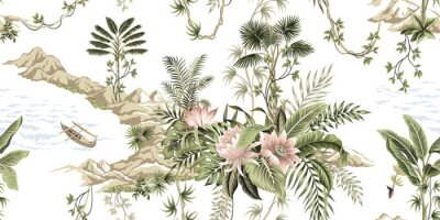 Fototapeta Tropical vintage botanical island, palm tree, mountain, sea wave,boat, palm leaves, liana, lotus flower summer floral seamless pattern white background.Exotic jungle wallpaper.