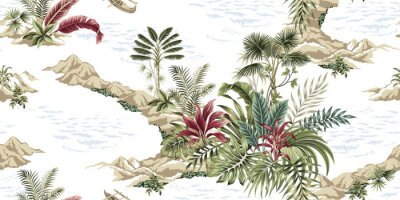 Fototapeta Tropical vintage botanical island, seamless pattern white background. Exotic jungle wallpaper.