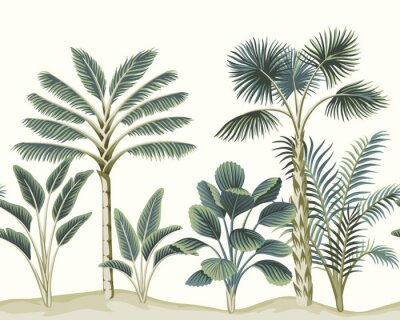 Fototapeta Tropical vintage Hawaiian palm trees, banana tree, plant floral seamless pattern white background. Exotic jungle wallpaper.