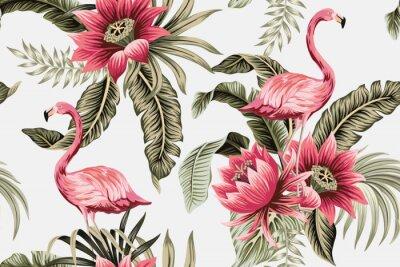 Fototapeta Tropical vintage pink flamingo, pink hibiscus, palm leaves floral seamless pattern grey background. Exotic jungle wallpaper.