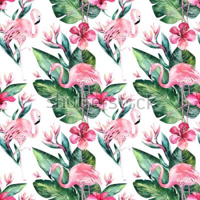 Fototapeta Tropické bezešvé květinové letní vzorek pozadí s tropickými palmovými listy, růžový plameňák, exotický ibišek. Ideální pro tapety, textilní design, tkaniny.
