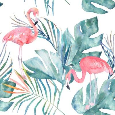 Fototapeta Tropické bezešvé vzor s plameňáci a listy. Akvarel letní tisk. Exotické ručně kreslené ilustrace