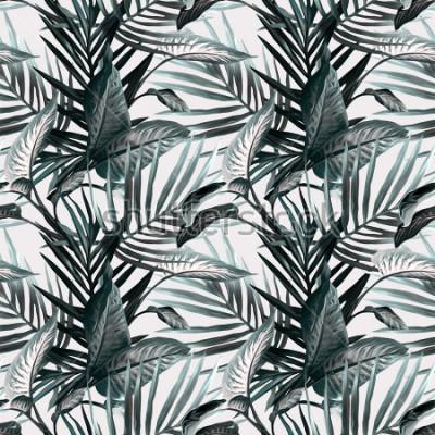 Fototapeta Tropické listy bezešvé vzor. Umělecké pozadí.