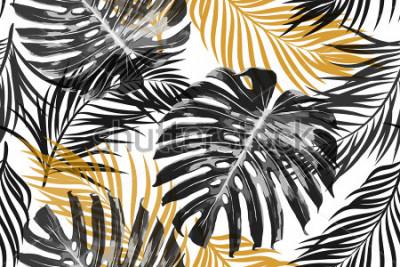 Fototapeta Tropické palmové listy, džungle listy. Krásná bezešvá vektorová módní elegantní abstraktní tropické květinovým vzorem pozadí