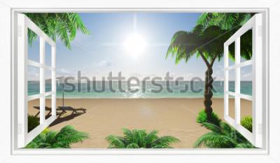 Fototapeta Tropické pláže pohled na moře z okna