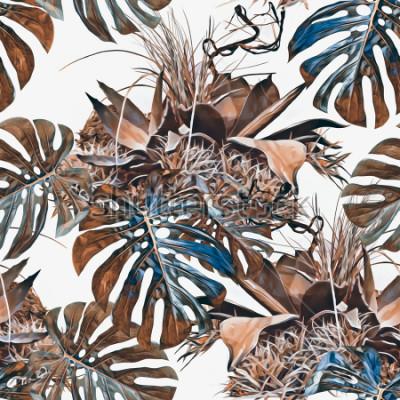 Fototapeta Tropické rostliny bezešvé vzor. Akvarel ilustrace. Umělecké pozadí.
