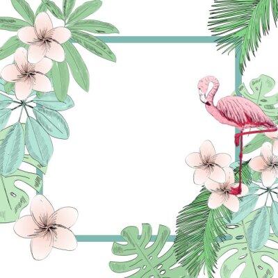 Fototapeta Tropické vektorové ilustrace s plameňáci a květiny.