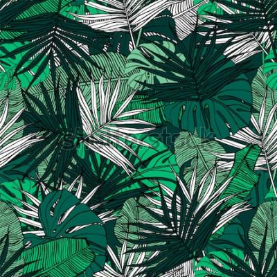 Fototapeta Tropický vzor bezešvé. Ručně tažené ilustrace s listy tropických rostlin. Textura s banánovými listy, palmami a monstera. Letní vektorová design.