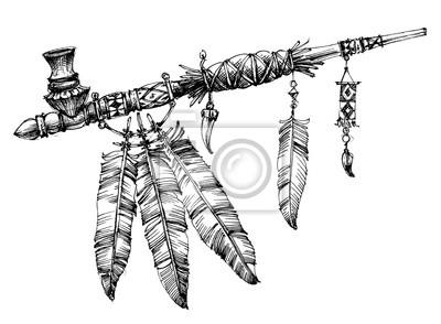 Trubka Miru Kresleni Slavnostni Indianske Potrubi Fototapeta