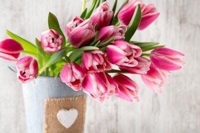 Fototapeta Tulipány na šedém pozadí.
