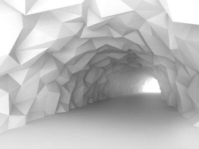 Fototapeta Tunel interiér s chaotickým polygonální úlevě od stěn