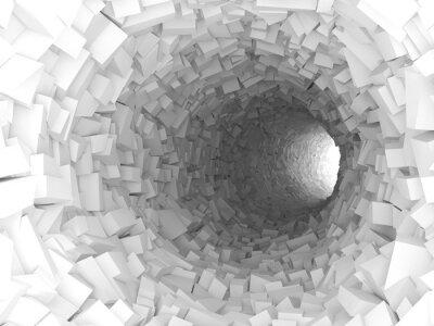Fototapeta Tunel se stěnami z chaotického bloků 3d