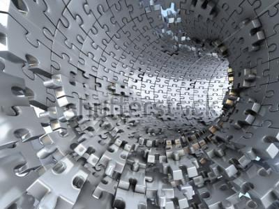 Fototapeta Tunel z kovových hádanek. Konceptuální 3d ilustrace,