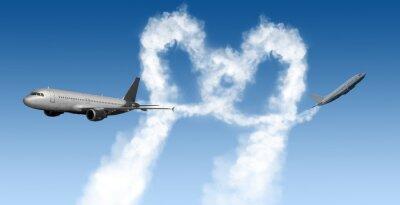 Fototapeta tvaru srdce skladby z letadel na modrém