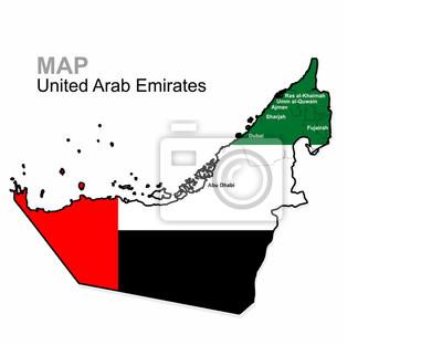 Uae Vektoru Spojene Arabske Emiraty Mapa Rozdelena Podle Kraju