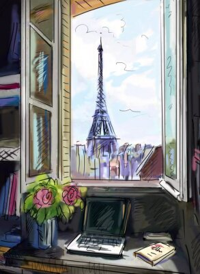 Fototapeta Ulice v Paříži. Eiffelova věž - ilustrace