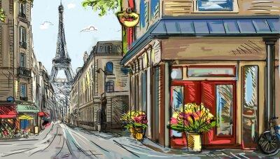 Fototapeta Ulice v Paříži - ilustrace