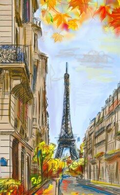 Fototapeta Ulice v Paříži na podzim. Eiffelova věž -Sketch ilustrace