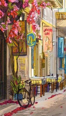 Fototapeta Ulice v Římě - ilustrace