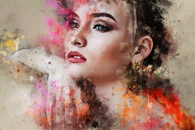 Fototapeta Umění barevné načrtnuté krásná abstraktní dívka tvář portrét na barevném pozadí v digitální akvarel smíšených médií styl slovo módní styl modelu
