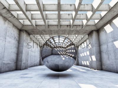 Fototapeta Umění koncept konkrétní tunel s kovovou kouli. 3D ilustrace.