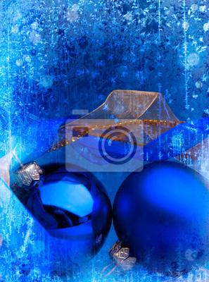 umění modrá vánoční koule