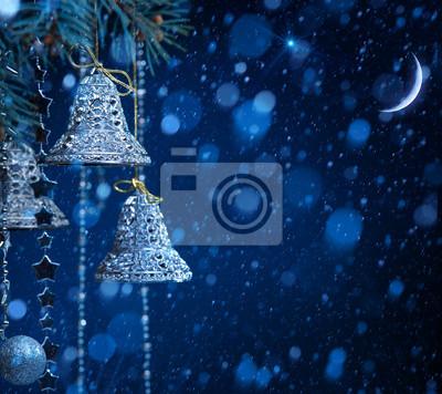 umění sníh vánoční dekorace na modrém pozadí
