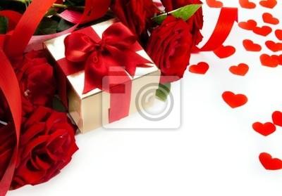 umění valentinky karta s červenou růží a dárkové krabici na bílém backgro