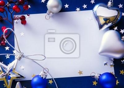 Umění vánoční pozdrav na modrém pozadí
