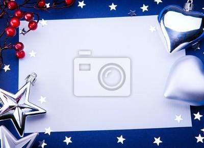Umění vánoční přání na modrém pozadí