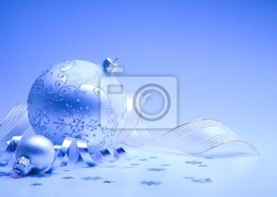 Umění vánoční přání s vánoční dekorace na modrém pozadí
