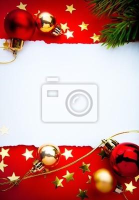 Umění vánoční rám s papírem na červeném pozadí