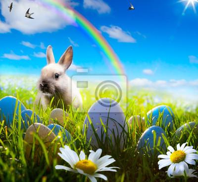 umění velikonoční zajíček a velikonoční vejce na jaře pole