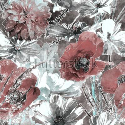 Fototapeta umění vinobraní akvarel barvitý květinový bezešvé vzor s červenými a bílými vlčí máky, pivoňky, růže, listy a trávy na tmavě šedém pozadí