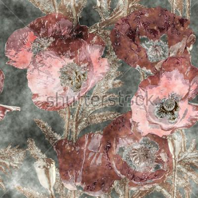 Fototapeta umění vinobraní akvarel barvitý květinový bezešvé vzorek s tmavě červenými vlčí máky, listy a trávy na pozadí