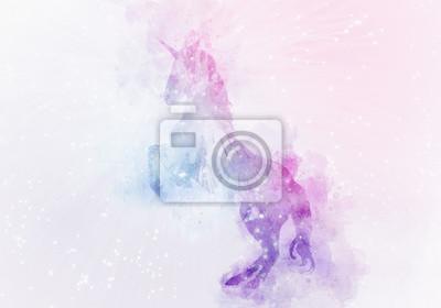 Fototapeta unicorn magie akvarel malování