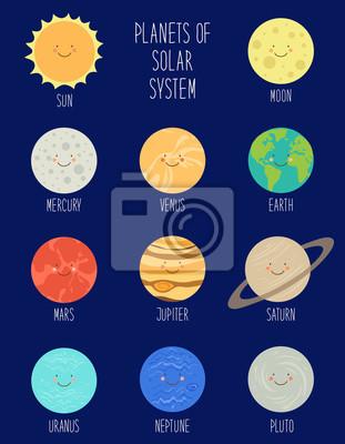 Usmivajici Se Kreslene Postavicky Z Planet Slunecni Soustavy