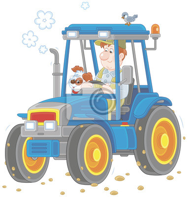 Usmivajici Se Pracovnik Ridit Jeho Kolovy Traktor Vektorove