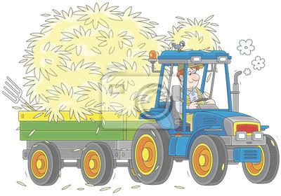 Usmivajici Se Zemedelec Ridit Jeho Kolovy Traktor S Privesem