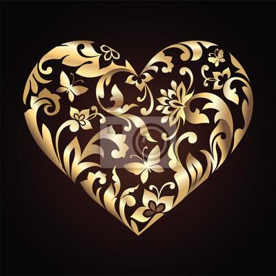 Fototapeta Valentine den ozdobného zdobené srdce s květinovým vzorem