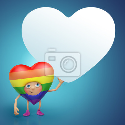 Fototapeta Valentine gay srdce karikatura holding tag banner