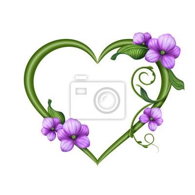 Fototapeta Valentine Šablona blahopřání, květinový srdce rámu
