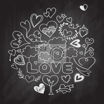 Valentyna Tema Doodle Set Tradicni Romanticke Symboly Tvary