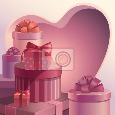 Fototapeta valentýnské dárky srdce šablony
