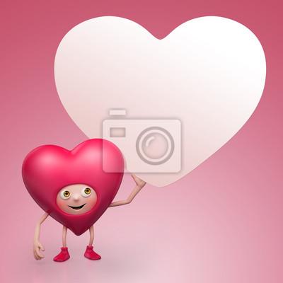 Fototapeta Valentýnské srdce kreslená postavička drží banner