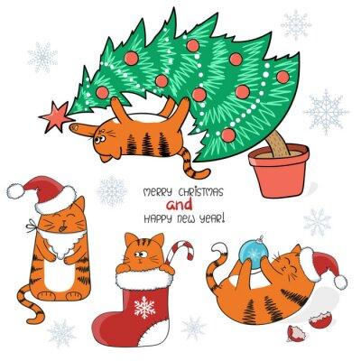 Vanoce A Novy Rok Set Roztomile Kreslene Kocky S Cepice Santa