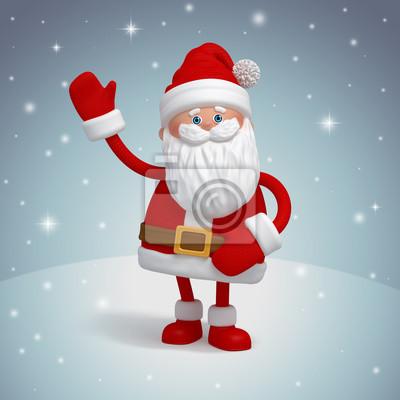 Fototapeta Vánoce Santa Claus 3d funny kreslená postavička