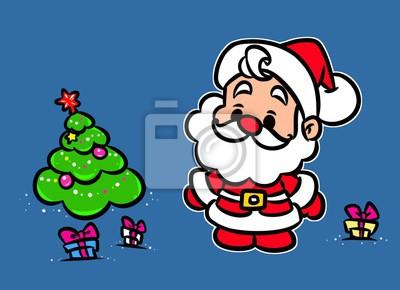 Vanoce Santa Claus Mini Tree Darky Kreslene Ilustrace Novy Rok