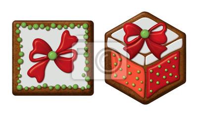Fototapeta Vánoční dárkové krabičky, perníčky izolované